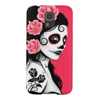 Día rosado del chica muerto del cráneo del azúcar carcasas de galaxy s5