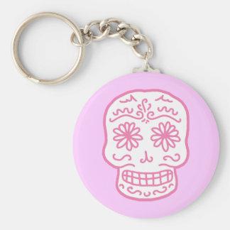 Día rosado del cráneo muerto llavero personalizado