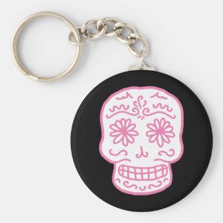 Día rosado del cráneo muerto llavero redondo tipo pin