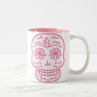 Día rosado del cráneo muerto taza