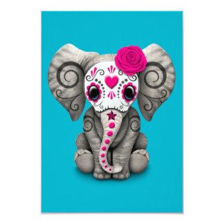 """Día rosado del elefante muerto del bebé del cráneo invitación 3.5"""" x 5"""""""