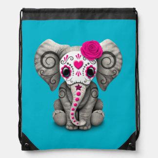 Día rosado del elefante muerto del bebé del cráneo mochilas