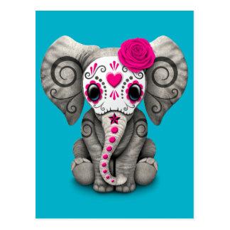 Día rosado del elefante muerto del bebé del cráneo tarjeta postal
