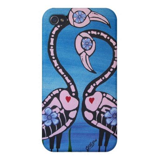 Día rosado del flamenco del estuche rígido del iPhone 4/4S fundas