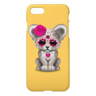 Día rosado del león blanco Cub del cráneo muerto Funda Para iPhone 7