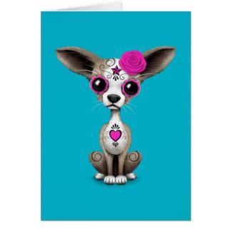 Día rosado del perrito muerto de la chihuahua del tarjeta de felicitación