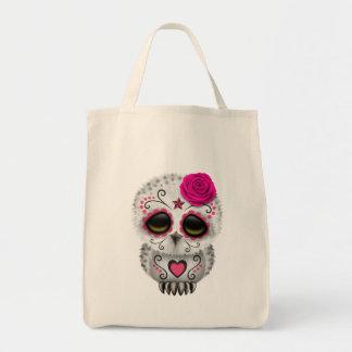 Día rosado lindo del búho muerto del cráneo del bolsas