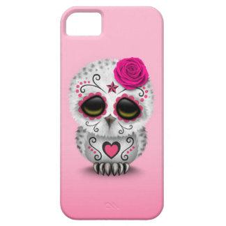 Día rosado lindo del búho muerto del cráneo del iPhone 5 fundas