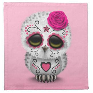 Día rosado lindo del búho muerto del cráneo del servilletas imprimidas