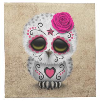 Día rosado lindo del búho muerto del cráneo del servilleta de papel