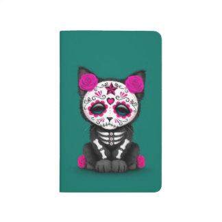 Día rosado lindo del gato muerto del gatito, azul  cuadernos