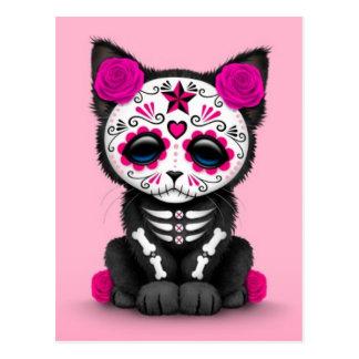 Día rosado lindo del gato muerto del gatito postales