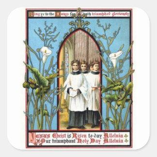 Día santo triunfante pegatina cuadradas personalizadas