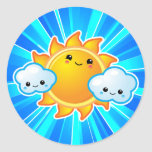 Día soleado de Kawaii Etiquetas