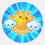 Día soleado de Kawaii Etiquetas Redondas