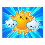 Día soleado de Kawaii Postales