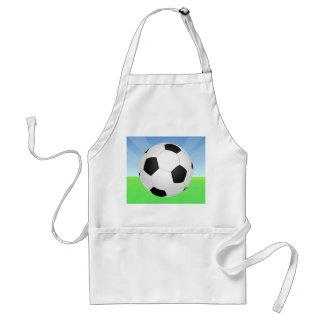 Día soleado del balón de fútbol delantales