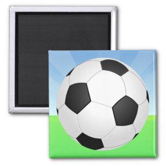 Día soleado del balón de fútbol imán cuadrado