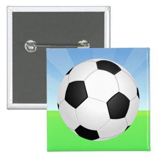 Día soleado del balón de fútbol pin cuadrado