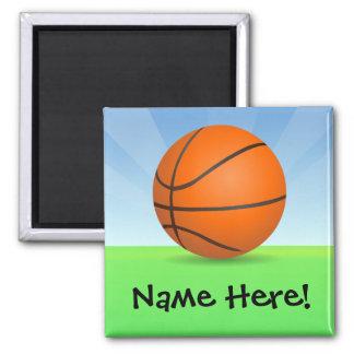 Día soleado del baloncesto de los deportes del imán cuadrado