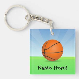 Día soleado del baloncesto de los deportes del llavero cuadrado acrílico a una cara