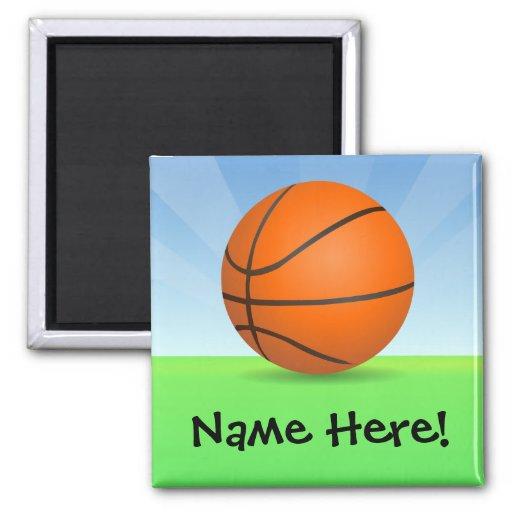 Día soleado del baloncesto de los deportes del niñ iman para frigorífico