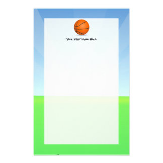 Día soleado del baloncesto de los deportes del niñ papeleria personalizada