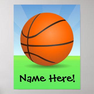 Día soleado del baloncesto de los deportes del niñ póster