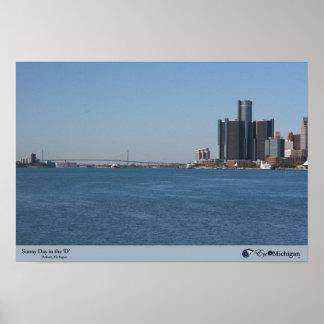 Día soleado en la D - Detroit MI Poster