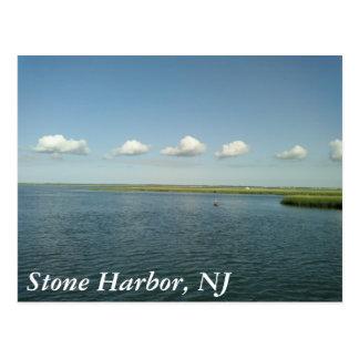 día soleado en la orilla, puerto de piedra, NJ Postales