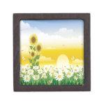 Día soleado, girasoles y flores cajas de recuerdo de calidad