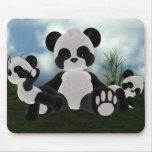 Día soleado Mousepad de Bearz de la panda Tapete De Ratón