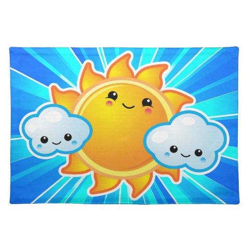 Día soleado Placemats de Kawaii Manteles