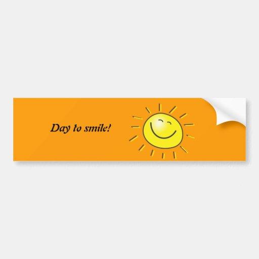 ¡Día soleado, sol sonriente, día a sonreír! Pegatina Para Auto