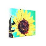 Día soleado, un girasol impresiones en lienzo estiradas