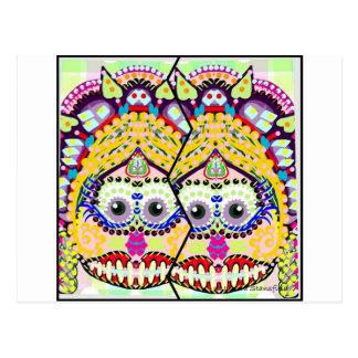 Día sonriente del azúcar de los gemelos muertos postal
