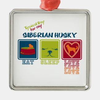Día típico para mi husky siberiano ornamento para arbol de navidad
