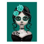 Día triste del chica muerto en azul del trullo postales