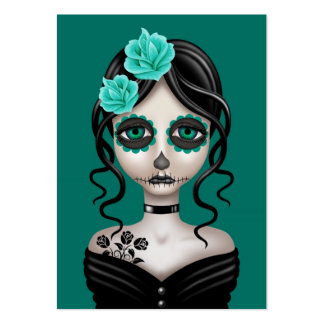 Día triste del chica muerto en azul del trullo tarjetas de visita grandes