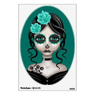 Día triste del chica muerto en azul del trullo vinilo decorativo