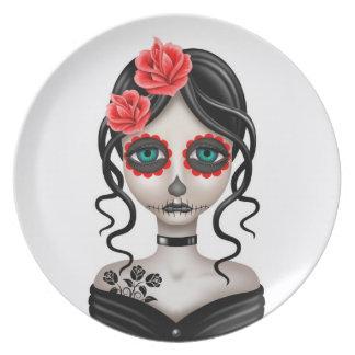 Día triste del chica muerto en blanco plato para fiesta