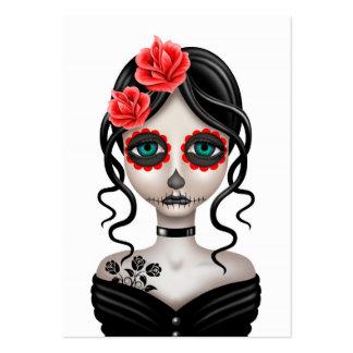 Día triste del chica muerto en blanco tarjetas de visita grandes