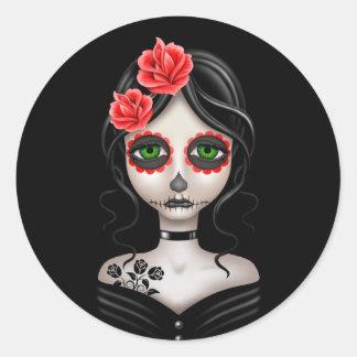 Día triste del chica muerto en negro pegatina redonda