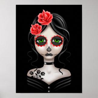 Día triste del chica muerto en negro póster
