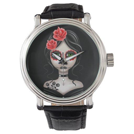 Día triste del chica muerto en negro relojes de mano