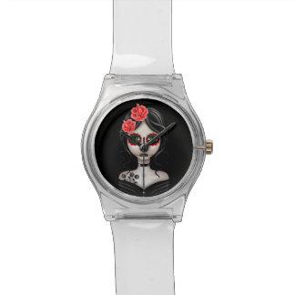 Día triste del chica muerto en negro relojes