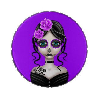 Día triste del chica muerto en púrpura frascos de dulces