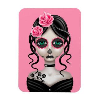 Día triste del chica muerto en rosa imanes flexibles