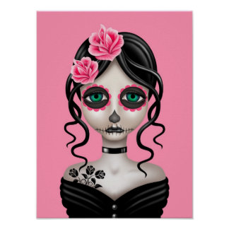 Día triste del chica muerto en rosa póster