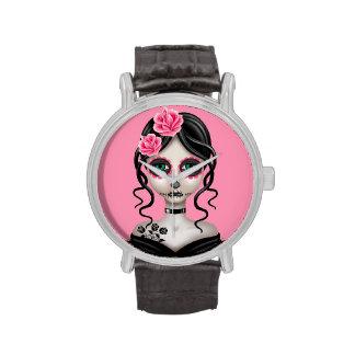 Día triste del chica muerto en rosa relojes de pulsera